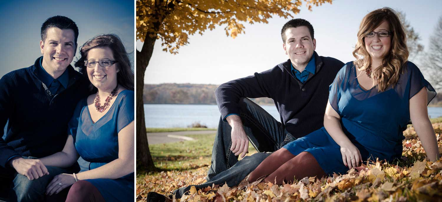 Engagement shots of a  couple sitting in the leaves