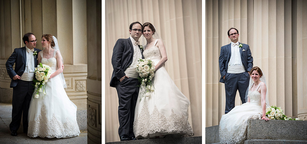 Bride and Groom at the pillars at Angell Hall Ann Arbor