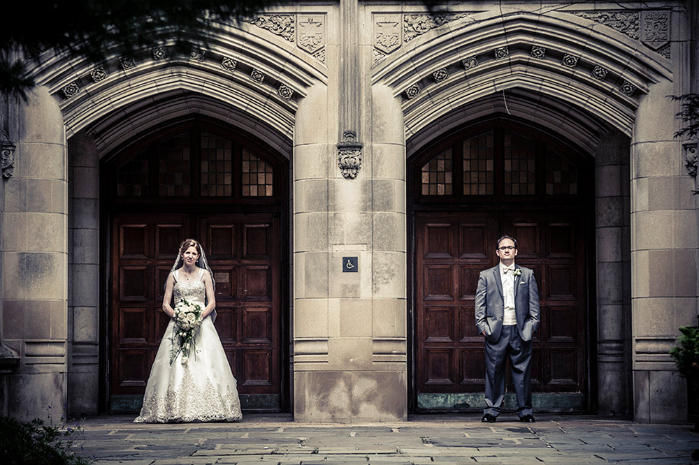 Bride and Groom at stone arches at the Law Quad, Ann Arbor