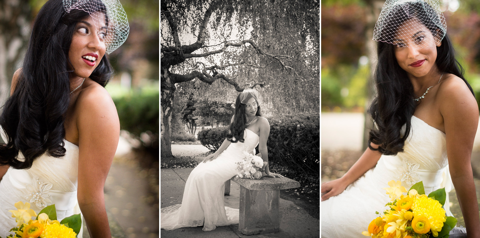 Bridal portrait on the patio at Orchard Lake St Mary